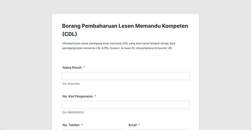 Borang Permohonan Renew Lesen Memandu Online